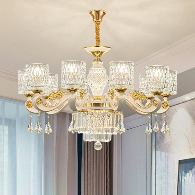 Ripple Glass White Chandelier Cylinder Traditional Pendant Light with Crystal Accents
