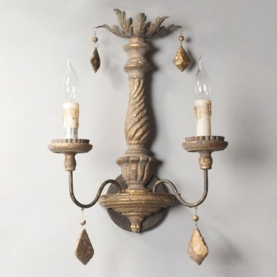 Rustic Candle Wall Sconce Light Wooden Wall Mounted Lighting Fixture for Dining Room