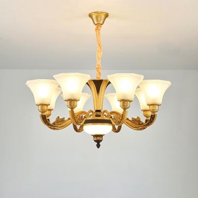 Cream Paneled Glass Flared Light Fitting Antique Style Living Room Lighting in Brass