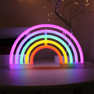 Rainbow Small USB Wall Night Light Cartoon Rubber White LED Table Lamp for Bedroom