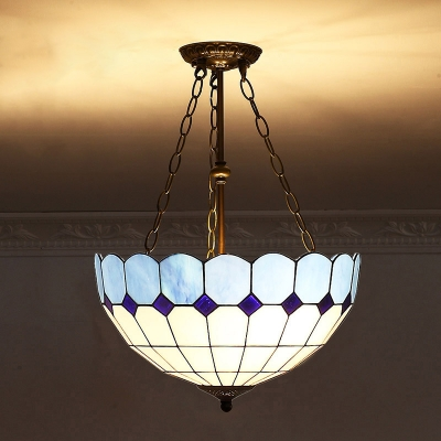 Classic Inverted Bowl Shaped Pendant Light Tiffany Glass Ceiling Suspension Lamp for Dining Room