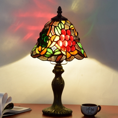 1 Bulb Shaded Nightstand Lamp Tiffany Bronze Hand-Crafted Patterned Glass Table Light