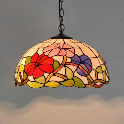 1-Light Hemisphere Ceiling Pendant Tiffany Hand Rolled Art Glass Hanging Light Fixture