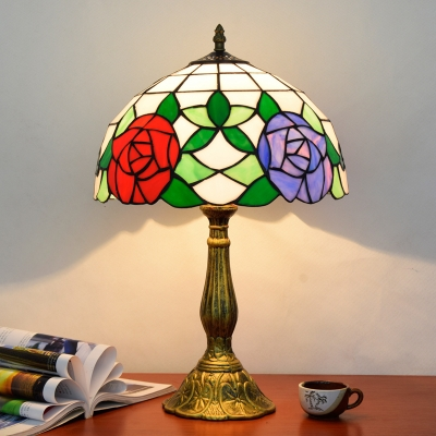 Dome Shaped Nightstand Lamp Tiffany Hand Rolled Art Glass Single-Bulb Table Light