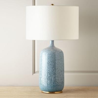 Jar Shaped Ceramics Table Lamp Modern 1 Head Blue Night Light with Drum Fabric Shade
