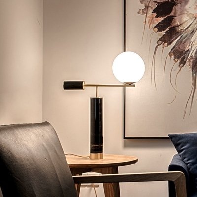 Novel Postmodern Cylindrical Night Lamp Marble 1 Bulb Bedside Table Light in Black with Ball Glass Shade