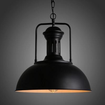 Single-Bulb Hanging Lamp Vintage Pot Lid Metal Lighting Pendant Fixture for Restaurant