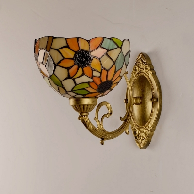 Bowl Shaped Wall Sconce Tiffany Stained Glass 1 Head Gold Wall Light with Sunflower Pattern