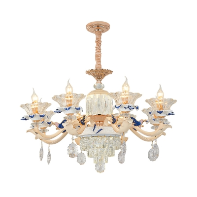 Clear K9 Crystal White Indoor Light Flower Traditional Lighting Fixture for Dining Room