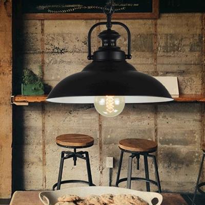 Metallic Pot Lid Hanging Light Simplicity 1 Bulb Restaurant Pendant Light in Black Outer & White Inner