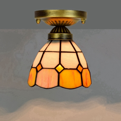 Single Semi-Flush Mount Tiffany Geometric Stained Glass Close to Ceiling Light Fixture