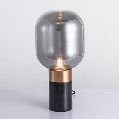 Pill Capsule Bedroom Night Light Glass 1-Bulb Postmodern Style Marble Table Lamp