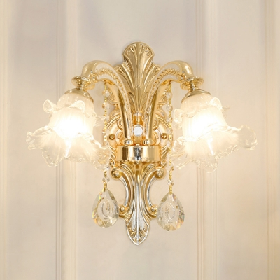 Ruffled Frosted Glass Light Fitting Traditional Living Room Lighting with Dangling Crystals in Gold