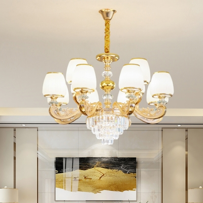 Tapered Living Room Chandelier Lighting Antique White Glass Gold Ceiling Light with Crystal Decor