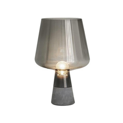 Cup Shaped Glass Torchiere Lamp Designer 1 Head Grey Night Table Light with Cement Base