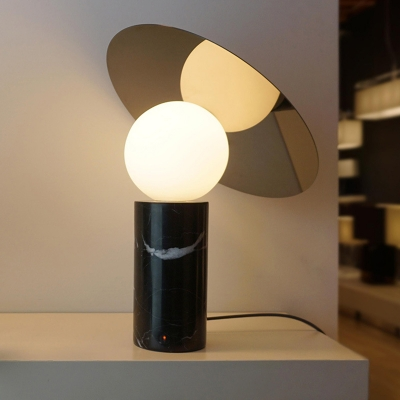 Parabolic Antenna Night Light Designer Marble 1-Bulb Gold and Black Table Lamp for Bedroom