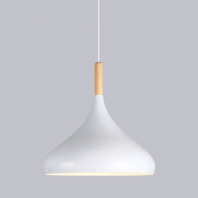 Single-Bulb Hanging Lamp Vintage Conical Shade Metal Lighting Pendant for Dining Room