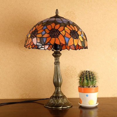 Traditional Dome Shaped Table Light 1 Bulb Tiffany Glass Nightstand Lamp in Orange