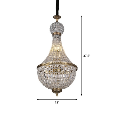 Baroque Empire Chandelier Crystal Encrusted Ceiling Pendant Light in Brass for Bedroom