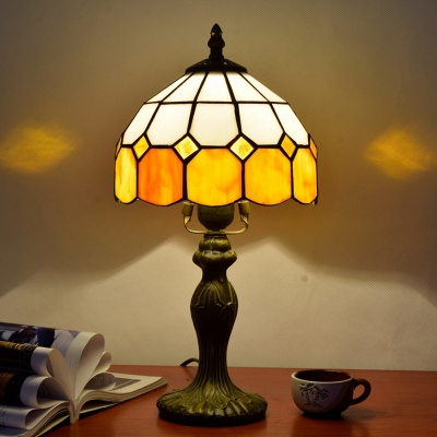 Gridded Glass Dome Night Light Tiffany 1 Head Yellow Table Lighting for Living Room