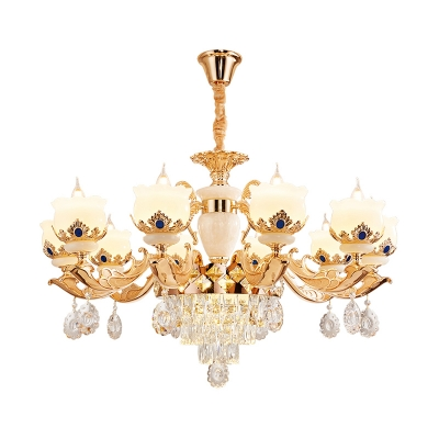 Jade Bud Ceiling Chandelier Vintage Dining Room Pendant Light Fixture in Gold with Crystal Decoration