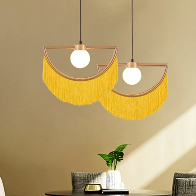 1-Bulb Moon Shaped Hanging Lamp Decorative Brass Metal Pendant with Fringe and Ball Glass Shade