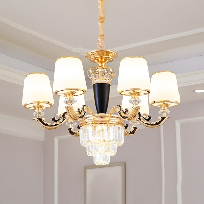 Antique Tapered Shaped Hanging Light White Glass Chandelier with Crystal and Gold Arm