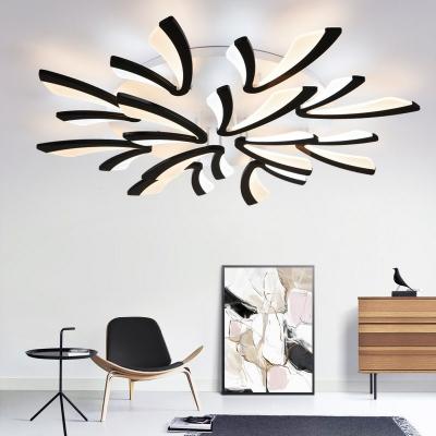 Dandelion Living Room LED Ceiling Light Metallic Modernist Semi Flush Mount Lighting in White