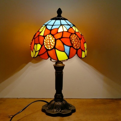Domed Night Stand Light Hand-Cut Stained Glass Tiffany Table Lamp with Sunflower Pattern