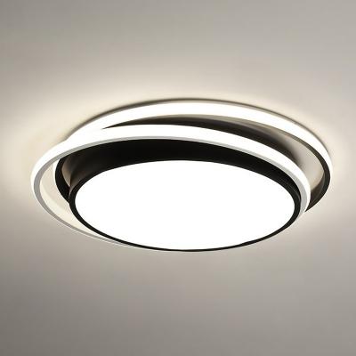 edroom LED Ceiling Flush Light Nordic Black Flushmount with Round Acrylic Shade