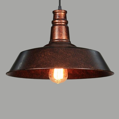 Metallic Pot Cover Ceiling Light Industrial Single Restaurant Hanging Pendant Light in Rust