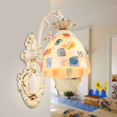 Mosaics Glass Bell Wall Light Mediterranean White Wall Sconce Lighting for Living Room