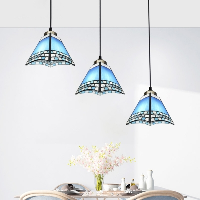 3-Bulb Shaded Multi Light Ceiling Light Tiffany Hand Rolled Art Glass Hanging Pendant