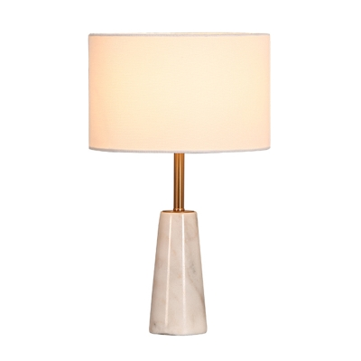 Fabric Drum Table Lamp Nordic 1-Head Night Stand Lighting with Conical Marble Base in White