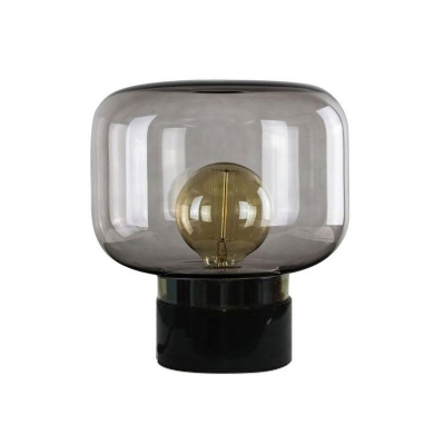 Fish Tank Shaped Glass Table Lighting Post-Modern 1 Light Night Lamp with Marble Pedestal