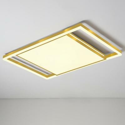 Geometric Shaped Bedroom Flush Mount Acrylic Modernist LED Ceiling Lighting in Gold