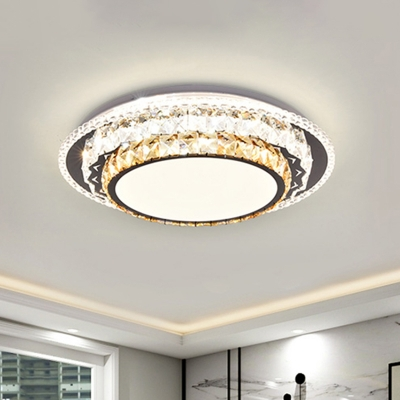 Crystal-Encrusted Round Flush Ceiling Light Simplicity Stainless Steel LED Flush Mounted Lamp