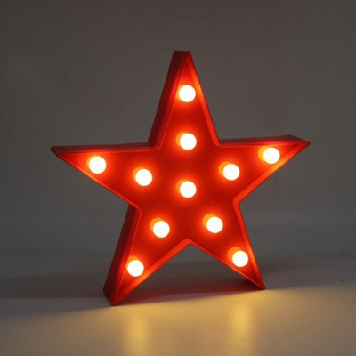 Five-Pointed Star Night Light Kids Plastic Nursery Battery Powered LED Wall Lamp