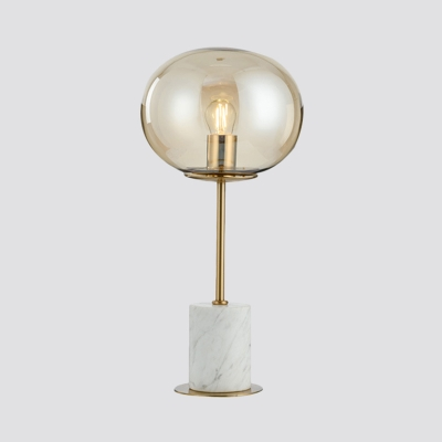 Post-Modern Spherical Night Lamp Amber Glass 1-Head Bedroom Table Lighting with Marble Base