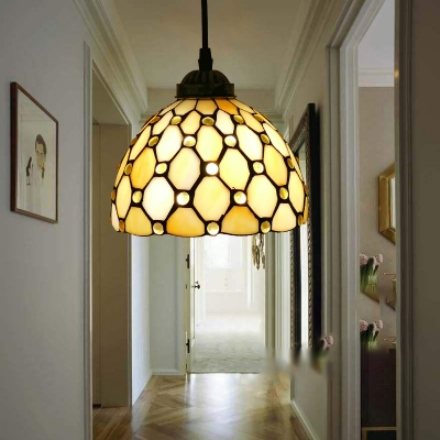 1-Light Hanging Pendant Baroque Jeweled Handcrafted Stained Glass Ceiling Light Fixture