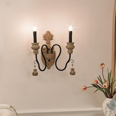 Candlestick Dining Room Wall Light Countryside Resin Black-Gold Sconce Light Fixture