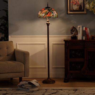 Green 2 Bulbs Floor Lighting Tiffany Handcrafted Stained Glass Bowl Floor Lamp with Pull Chain