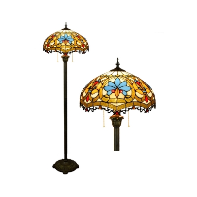 Handcrafted Art Glass Dome Floor Lamp Tiffany 2 Lights Standing Floor Light with Pull Chain