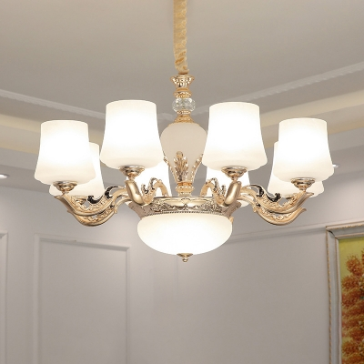 Conical Up Chandelier Lamp Retro White Frost Glass Suspension Lighting for Bedroom
