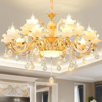 Floral Ceiling Chandelier Traditional Gold Glass Ceiling Lamp with Crystal Draping