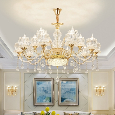 Flower Living Room Chandelier Traditional Clear Ribbed Crystal Gold Pendant Lamp