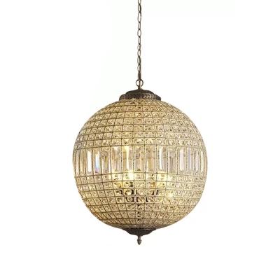 Modern Globe Hanging Light Crystal 1/3 Lights Living Room Chandelier Lighting Fixture in Brass
