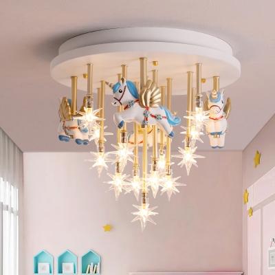 Cartoon Carousel Flush Mount Light Metal 13 Bulbs Kids Bedroom Ceiling Lamp with Star Clear Glass Shade