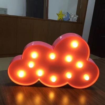 Cloud Shaped Plastic Night Lighting Decorative LED Battery Table Lamp for Bedroom