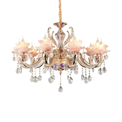 Classic Flower Indoor Lighting Pink Glass Lamp Fixture with Crystal Drapes for Bedroom